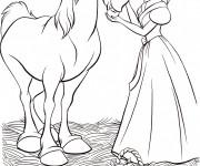 Coloriage Cendrillon et son cheval couleur
