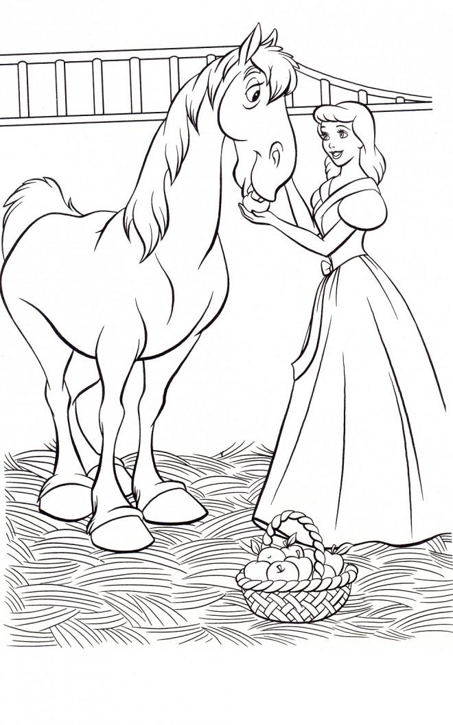 Coloriage et dessins gratuits Cendrillon et son cheval couleur à imprimer