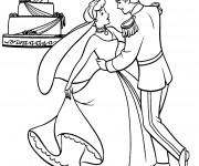 Coloriage et dessins gratuit Cendrillon et son prince à imprimer