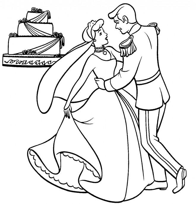 Coloriage et dessins gratuits Cendrillon et son prince à imprimer