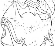 Coloriage Cendrillon portant sa robe magnifique