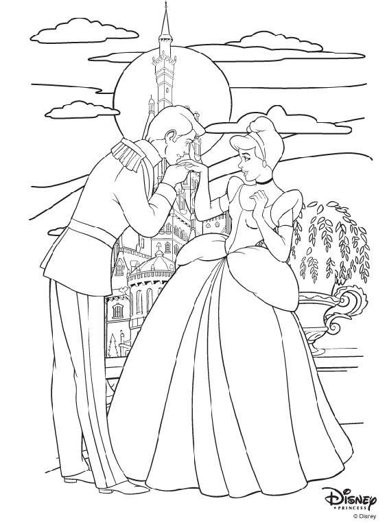 Coloriage et dessins gratuits Cendrillon rencontre Le Prince à imprimer