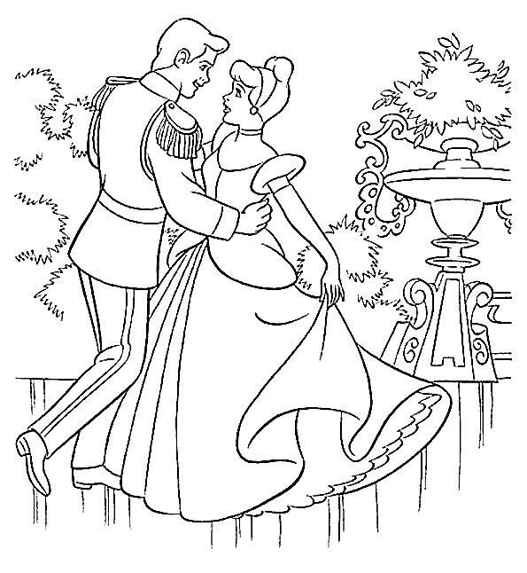 Coloriage et dessins gratuits La danse du Prince Henri et Cendrillon à imprimer