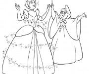 Coloriage La fée habille Cendrillon en robe