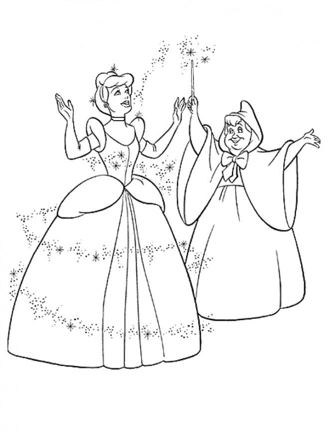 Coloriage Princesse Cendrillon gratuit à imprimer