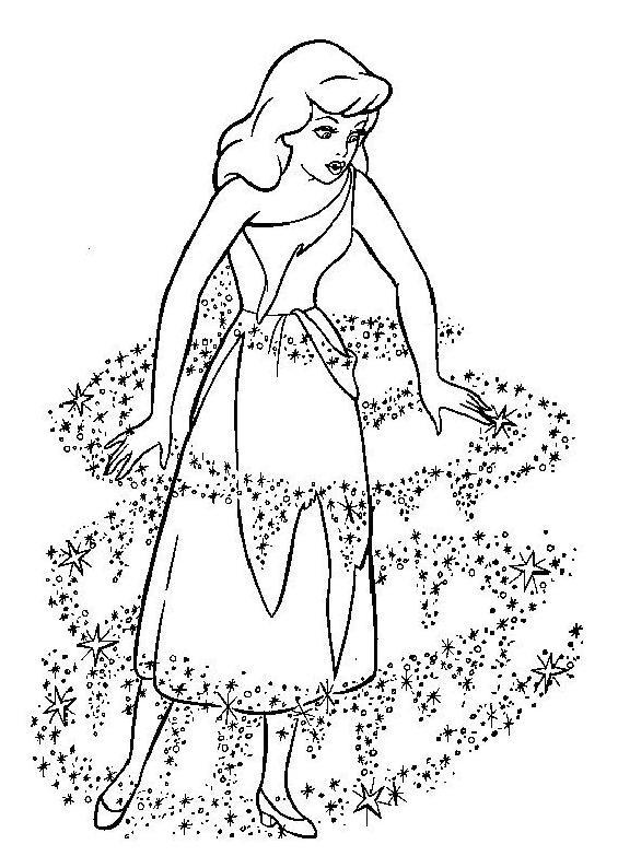 Coloriage et dessins gratuits Le déguisement de Cendrillon à imprimer