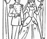 Coloriage Le mariage de Cendrillon et Le Prince charmant