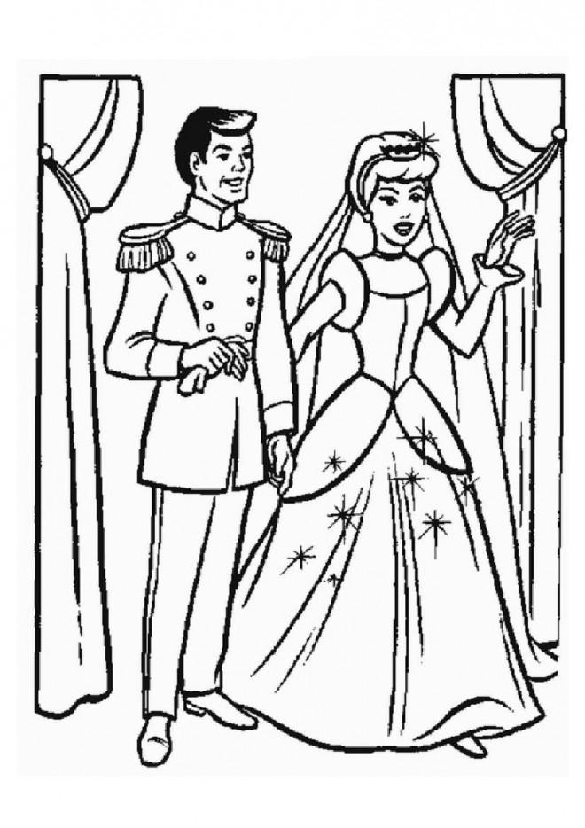 Coloriage et dessins gratuits Le mariage de Cendrillon et Le Prince charmant à imprimer