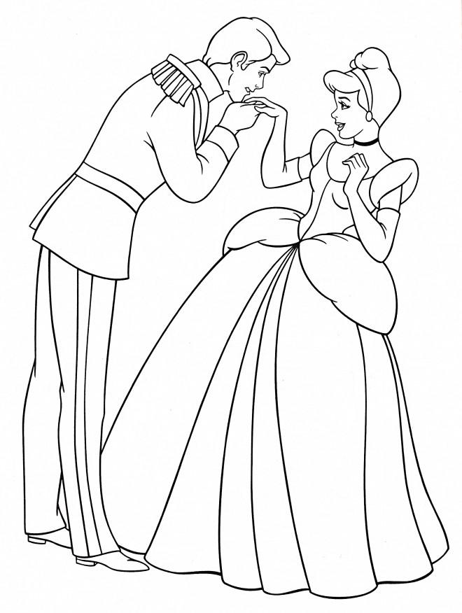 Coloriage et dessins gratuits Le Prince élégant  et Cendrillon à imprimer
