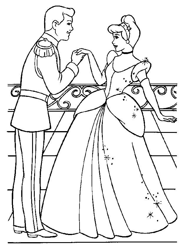 Coloriage et dessins gratuits Prince Henri complimente Cendrillon à imprimer