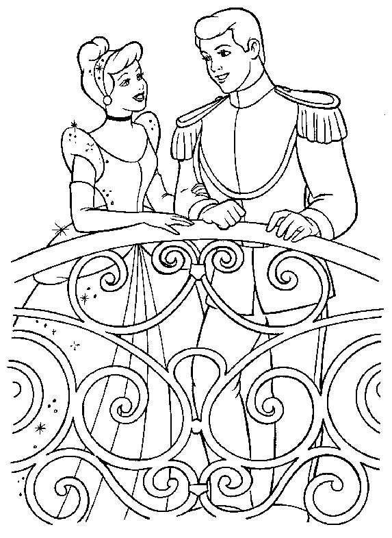 Coloriage et dessins gratuits Prince Henri et Cendrillon Disney à imprimer