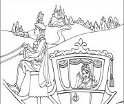 Coloriage Princesse Cendrillon dans sa Carrosse magique