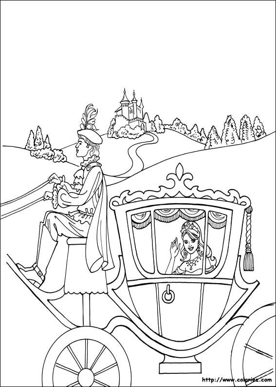 Coloriage et dessins gratuits Princesse Cendrillon dans sa Carrosse magique à imprimer