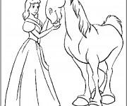 Coloriage Princesse Cendrillon el Le Cheval Magique