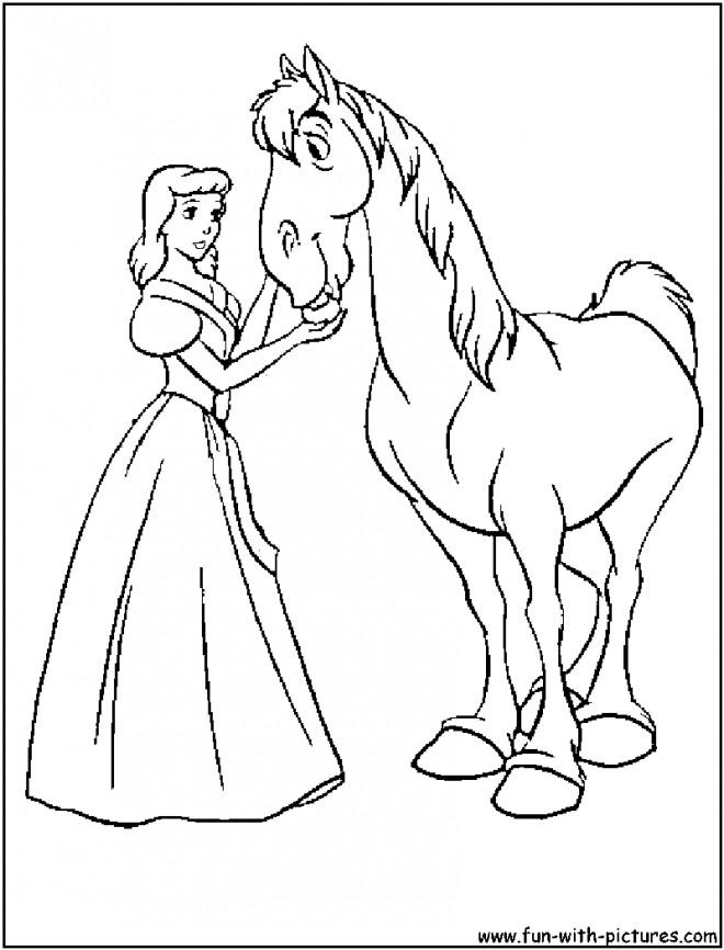 Coloriage De Cheval Princesse A Imprimer.Coloriage Princesse Cendrillon El Le Cheval Magique