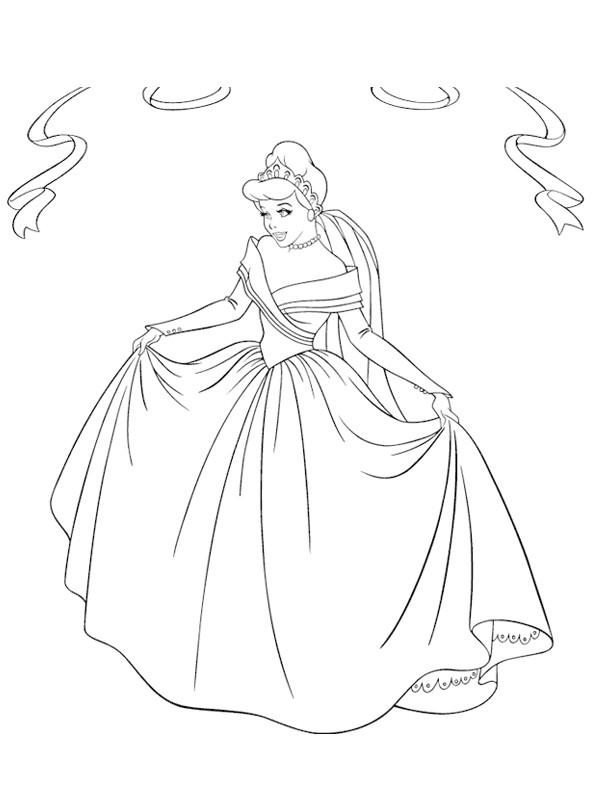 Coloriage et dessins gratuits Princesse Cendrillon en couleur à imprimer