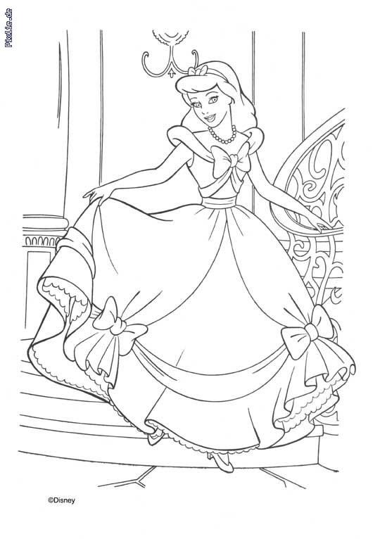Coloriage et dessins gratuits Princesse Cendrillon en toute beauté à imprimer