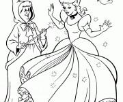 Coloriage Princesse Cendrillon et la magicienne