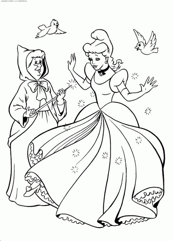 Coloriage et dessins gratuits Princesse Cendrillon et la magicienne à imprimer