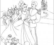 Coloriage Princesse Cendrillon et sa Carrosse magique