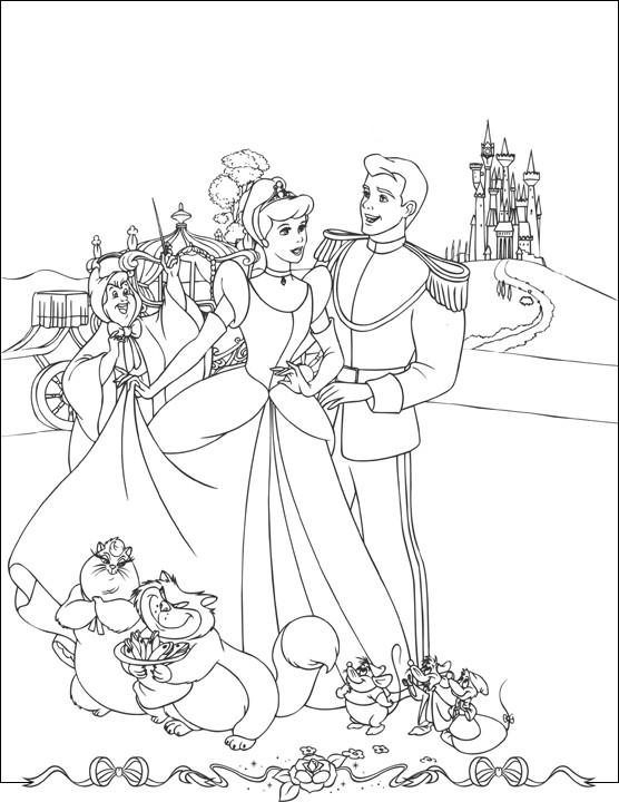 Coloriage et dessins gratuits Princesse Cendrillon et sa Carrosse magique à imprimer