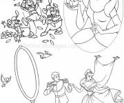 Coloriage Princesse Cendrillon et ses petits amis