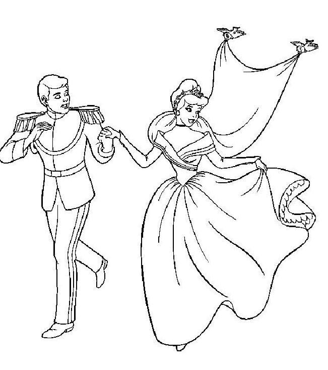 Coloriage et dessins gratuits Princesse Cendrillon et son beau mari à imprimer