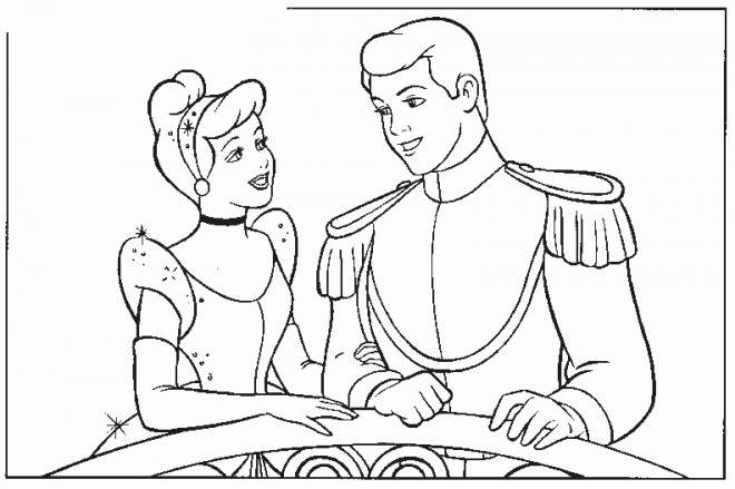 Coloriage et dessins gratuits Princesse Cendrillon et son mari à imprimer