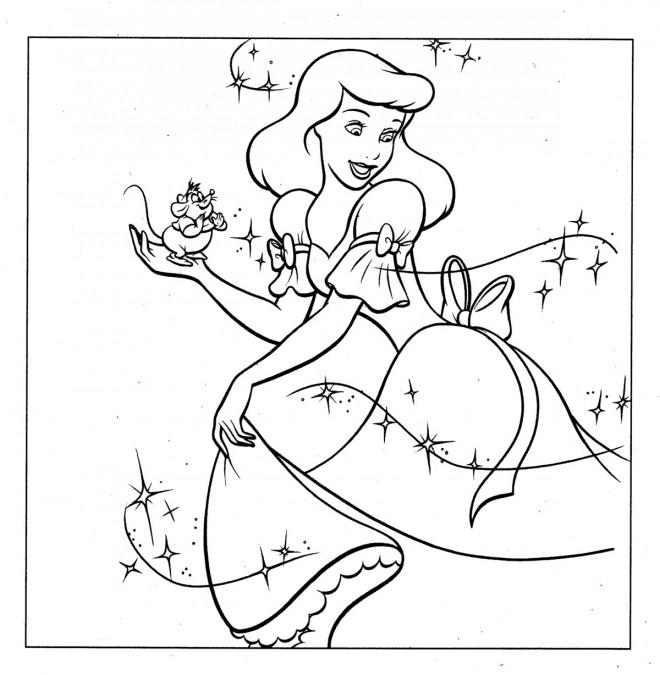 Coloriage et dessins gratuits Princesse Cendrillon heureuse à imprimer