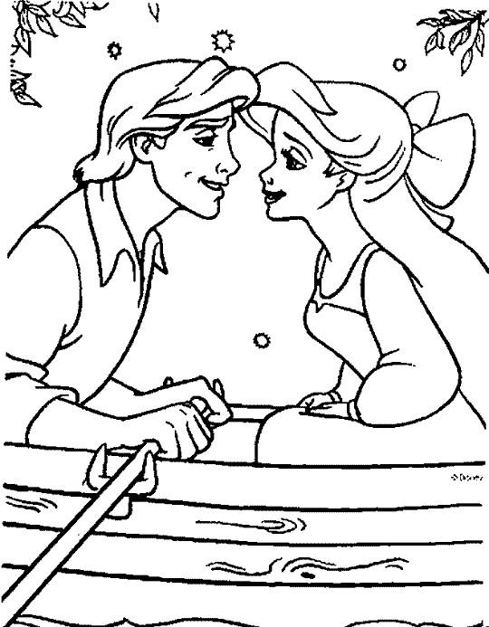 Coloriage et dessins gratuits Amour de Ariel et Eric à imprimer