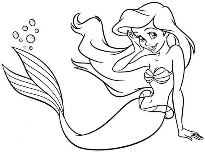 Coloriage Ariel Belle Sirène à Colorier