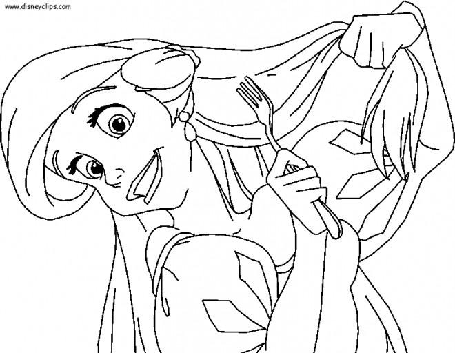 Coloriage et dessins gratuits Ariel brosse ses cheveux avec la fourchette à imprimer