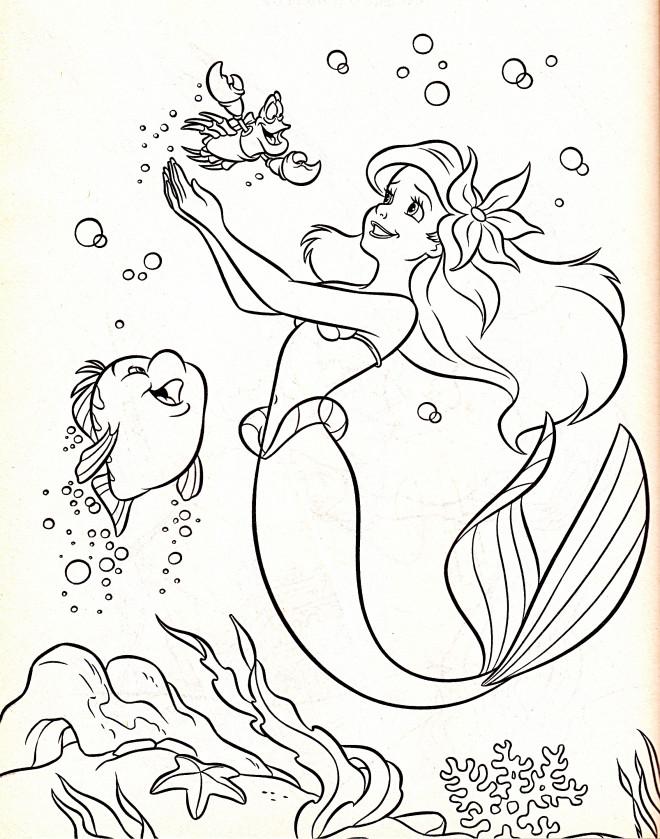 Coloriage et dessins gratuits Ariel et Animaux Marins à découper à imprimer