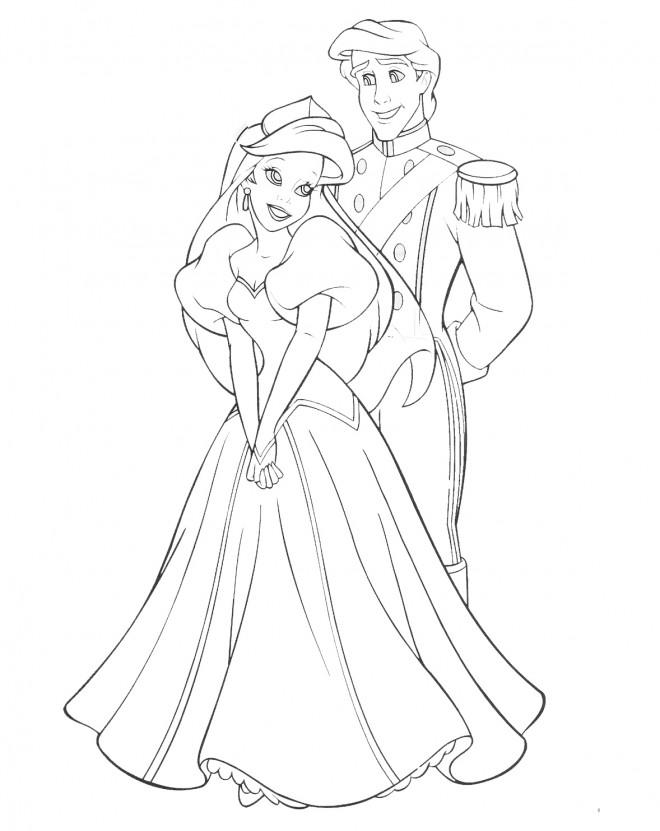 Coloriage et dessins gratuits Ariel et Le Beau Prince amoureux à imprimer