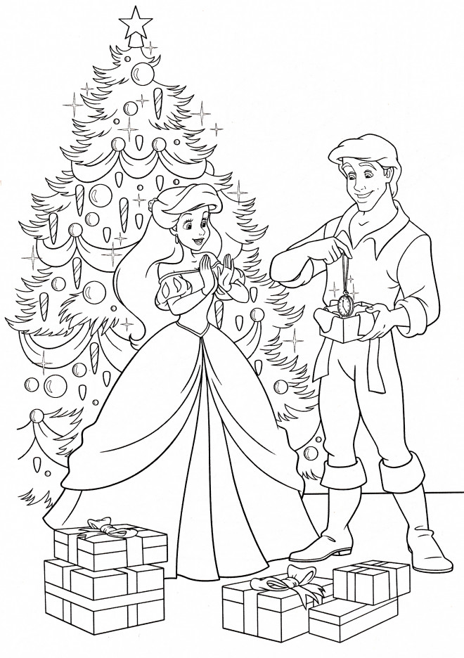 Coloriage et dessins gratuits Cadeau d'Eric pour Princesse Ariel à imprimer