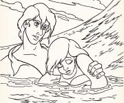 Coloriage Eric le prince et Ariel La sirène dans La mer