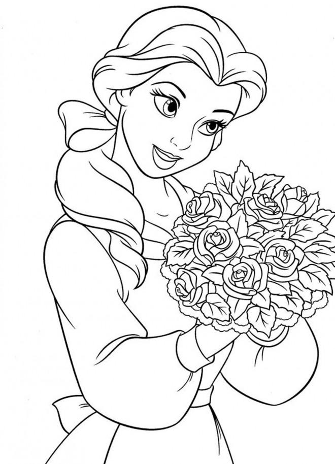 Coloriage et dessins gratuits La belle Ariel tient un bouquet à imprimer