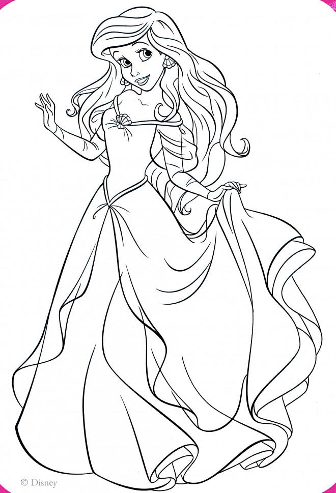 Coloriage La Princesse Ariel élégante