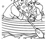 Coloriage Les amoureux Princesse Ariel et Prince Eric