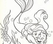 Coloriage Princesse Ariel aime Polochon