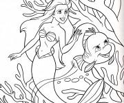 Coloriage et dessins gratuit Princesse Ariel avec Polochon à imprimer