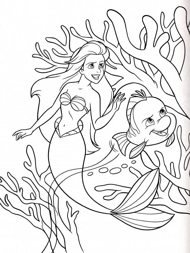 Coloriage et dessins gratuits Princesse Ariel avec Polochon à imprimer