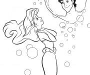 Coloriage Princesse Ariel en amour avec Eric