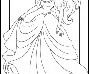 Coloriage Princesse Ariel en Robe magnifique