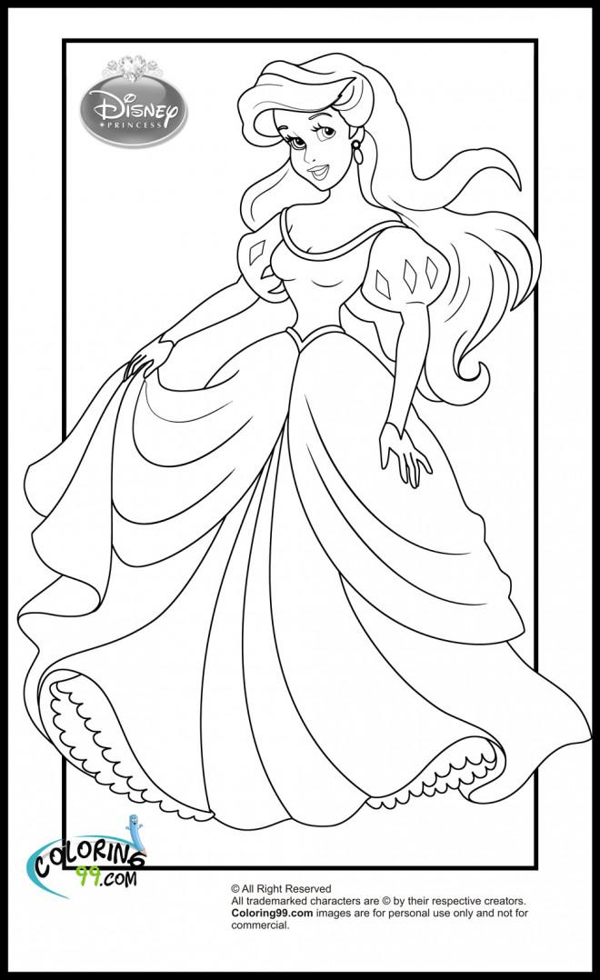 Coloriage et dessins gratuits Princesse Ariel en Robe magnifique à imprimer