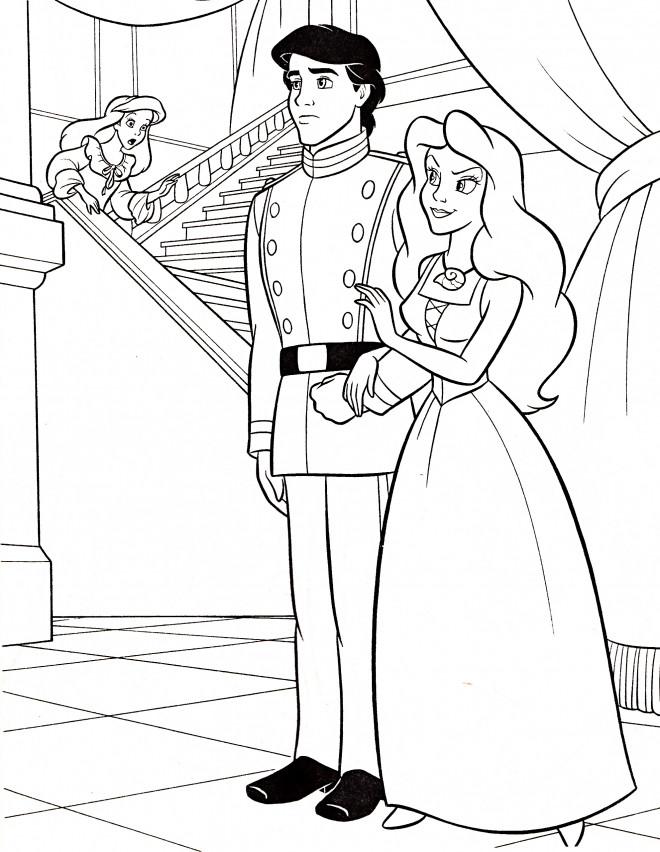 Coloriage et dessins gratuits Princesse Ariel est surprise à imprimer