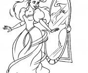 Coloriage Princesse  Ariel et Le Miroire