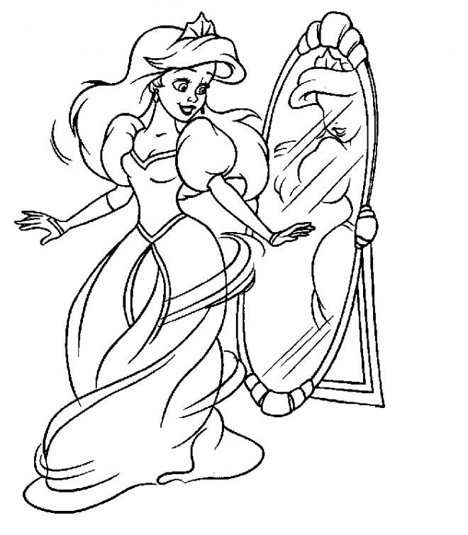 Coloriage et dessins gratuits Princesse  Ariel et Le Miroire à imprimer