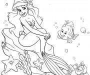 Coloriage Princesse Ariel et ses amis dans la Mer