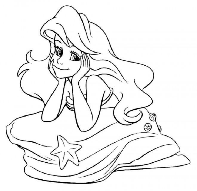 Coloriage et dessins gratuits Princesse  Ariel rêveuse à imprimer